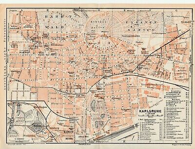 City plan of Karlsruhe - Germany  c1929 By Wagner & Debes