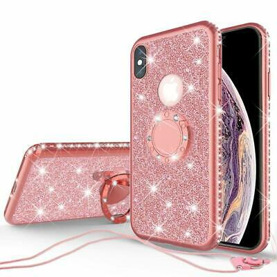 iPhone Xs Max Case Ring Kickstand Cute Glitter Bling Rhinestone Girls Women
