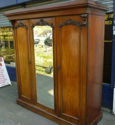 Large Decorative Victorian Mahogany Triple Wardrobe Compactum