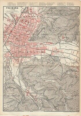City plan of Freiburg & Vicinity  - Germany  c1929 By Wagner & Debes