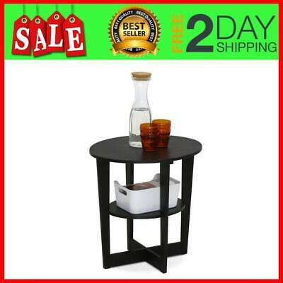 Black Walnut End Table Wedge Oval Coffee Side Night Stand Small Round Wooden