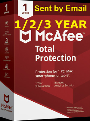 Mcafee Total Protection  2019 1 PC / Mac /Devices   1 / 2 / 3 Years