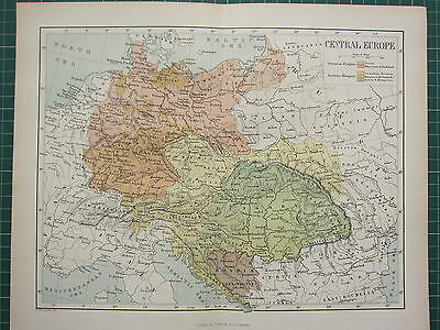 c1890 ANTIQUE MAP ~ CENTRAL EUROPE GERMAN & AUSTRIA EMPIRE BOSNIA HUNGARY