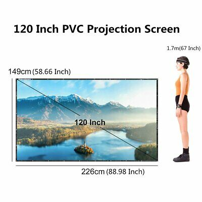 Excelvan 120 Inch 16:9 PVC Collapsible Projection Screen HD Portable Projector S