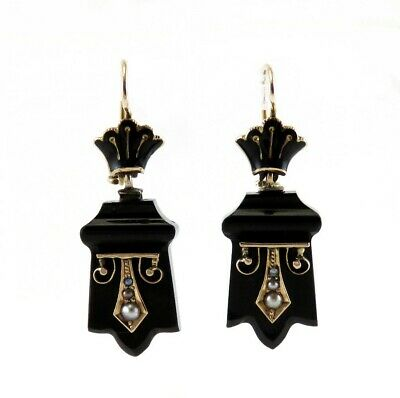 Antique Victorian Memorial 14K Gold Onyx Natural Pearl Etruscan Revival Earrings