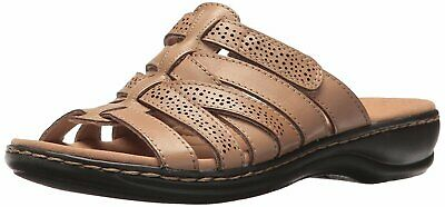 3bd63e9ccf CLARKS Womens leisa fields Open Toe Casual Slide Sandals, Sand Leather, Size  9.5