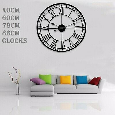 Giant Round Black Outdoor Garden Wall Clock Big Roman Numerals Open Face Metal E