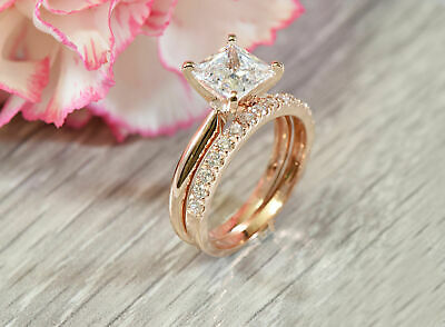 756857158 1.14Ct Princess Cut Diamond Engagement Ring & Band Set In 14K Rose Gold Over