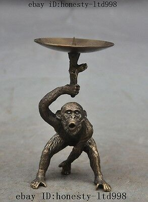 Collect Old Chinese Bronze Fengshui Lucky Monkey Statue Candlesticks Menorah