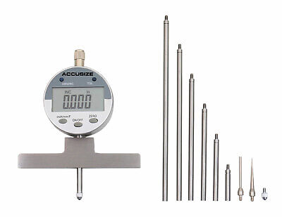 """0-22"""" Electronic Digital Depth Gauge, Inch/Metric/Fractional, 2 Extra Points"""