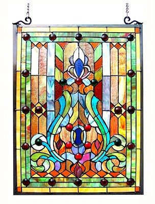"""Stained Glass Chloe Lighting Victorian Window Panel 19 X 24.75"""" Handcrafted New"""