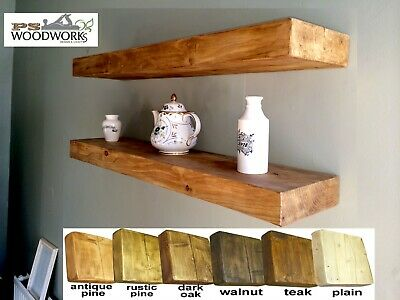 Book Shelves Floating Rustic Solid Hand Made Wooden Shelf Chunky Lots of Options