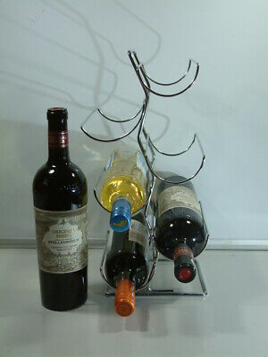 6 Bottle Chromed Wine Rack in Excellent condition