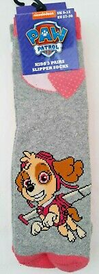 Paw Patrol - Girls Slipper Socks - 3-Pairs - Size 9-12 - Gift - Brand New