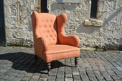 Victorian Large Wingback Armchair In Red Liberty Style Upholstery Turned Feet