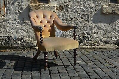 Victorian Open Armchair With Barley Twist Sabre Legs & Scroll Arm Yellow Mustard