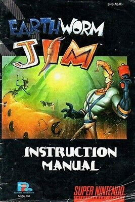 SNES - Earthworm Jim - Manual Instruction Booklet - Acceptable condition