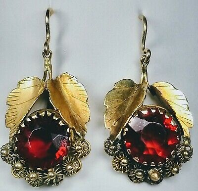 Antique 19th Century Russian Fine 14K Yellow Gold With Garnet Hook Earrings