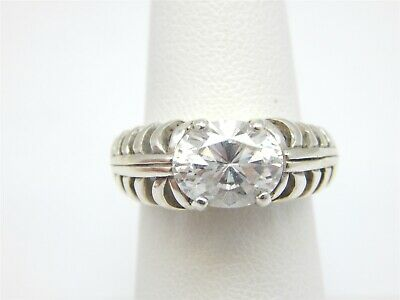 a86ccd867 Kabana Sterling Silver 3 Carat East West Set Diamonique Dq Cz Solitaire Ring  6