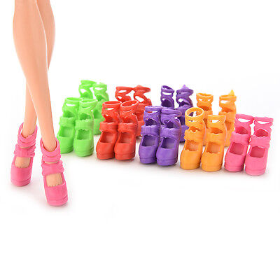 Randomly colors10 Pairs Assorted Colorful Doll Shoes Heels Sandals doll LE