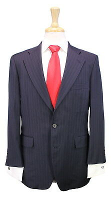 * PAUL STUART * Japan Navy Blue Pinstripe 2-Btn Classic Fit Wool Suit 40S