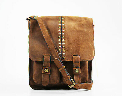 PATRICIA NASH  Armeno Burnished Suede Leather Crossbody Messenger Brown