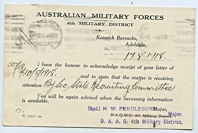 1918 OHMS PU POSTCARD AUST MILITARY FORCES 4th MILITARY DISTRICT KESWICK SA B53