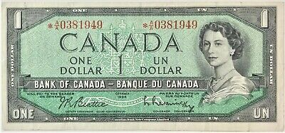 1954 Bank of Canada One Dollar  BC-37bA *A/A Replacement  #35635