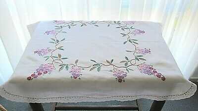 Vintage Embroidered Crochet Trim Supper Cloth Small Tablecloth