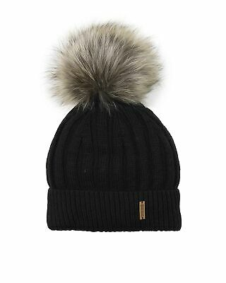 Barbaras Boys' Wool Beanie Hat in Black with Racoon Pompom, Sizes 2-10