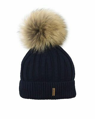 Barbaras Boys' Wool Beanie Hat in Navy with Racoon Pompom, Sizes 2-10