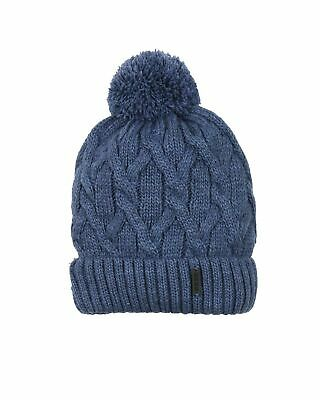 Barbaras Boys' Cable Knit Hat in Blue with Pompom, Sizes 2-10