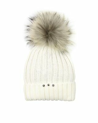 Barbaras Girls' Wool Beanie Hat in Ivory with Racoon Pompom, Sizes 2-12
