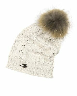 Barbaras Girls' Slouchy Beanie Hat in Beige with Racoon Pompom, Sizes 2-12