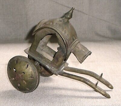 Antique Asian Forged Heavy Brass CARRIAGE Rickshaw Old Old Toy 450T