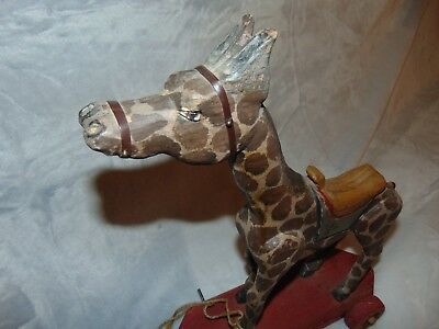 Giraffe - Tall Vintage Hand Carved Wooden Pull Toy - Signed - Limited Edition