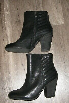 5003f0d31f7 VINCE CAMUTO BLACK Leather Zip High Heel Ankle Boots Womens Size 81/2