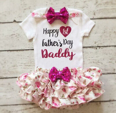 AU Newborn Baby Girl 1st Father's Day Romper Floral Shorts Outfits 2Pcs Clothes
