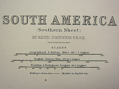 1873 Large Victorian Map ~ South America Southern Sheet Argentine Confederation