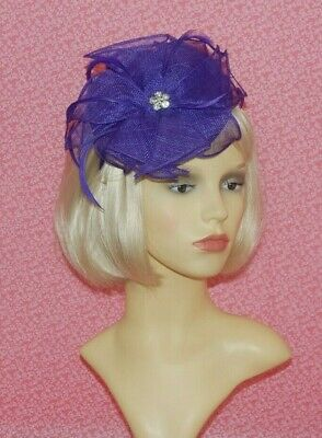 Purple Sinamay Pillbox Fascinator With Flower & Diamante Detail on Head Band.