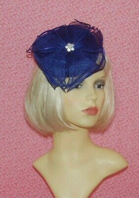 Royal Blue Sinamay Pillbox Fascinator With Flower & Diamante Detail on Head Band