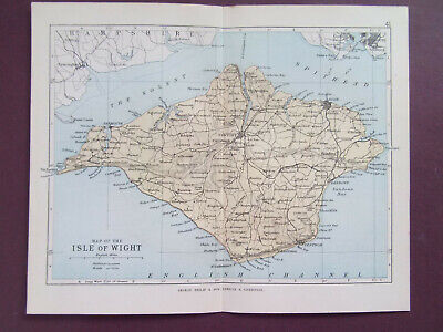 ISLE OF WIGHT + RAILWAYS ANTIQUE BARTHOLOMEWS  MAP DATED 1890 7inx 9in