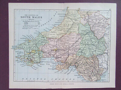 SOUTH WALES + RAILWAYS ANTIQUE BARTHOLOMEWS  MAP DATED 1890 7inx 9in