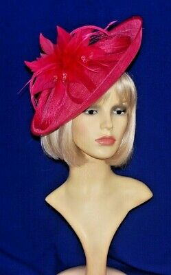 GIZZY® Ladies Raspberry Pink Sinamay Mini Disc with Bow Fascinator on Head B...