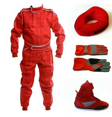Karting Package RED - CIK 2013 Kart Suit Gloves Neck Brace Boots BAMBINO CADET