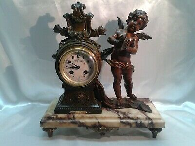 Antique French 8 Day Bronzed Metal & Marble Large Cherub Figurine Mantle Clock