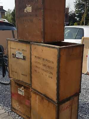 Five Vintage wooden storage / tea chests - Various Countries of Origin - Props