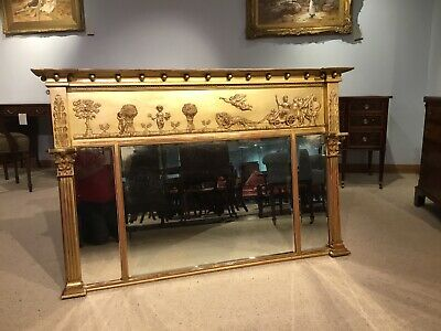 A Regency Style  late 19th Century carved gilt-wood & gesso overmantel