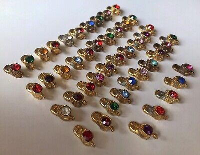 Lot of 45 GOLD PLATED Baby Shoe Boot CHARM Swarovski Crystal Ruby + Junk Drawer