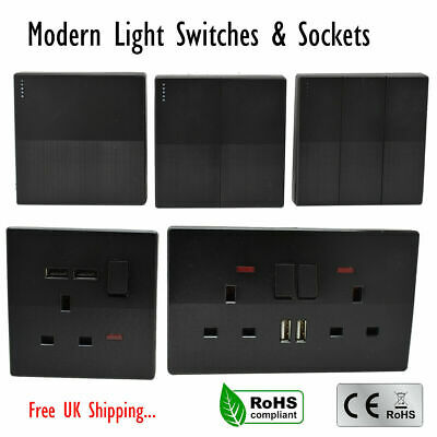 Socket Screwless Slim Flatplate Light Socket & Switches Black With / Without USB